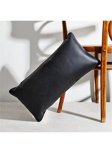 Maxmillen Krem Deri Dekoratif Kırlent - Dikdörtgen Siyah
